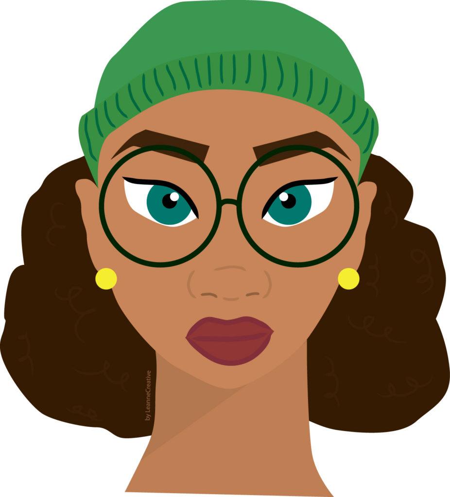Black girl modern hipster illustration by Leanne creative