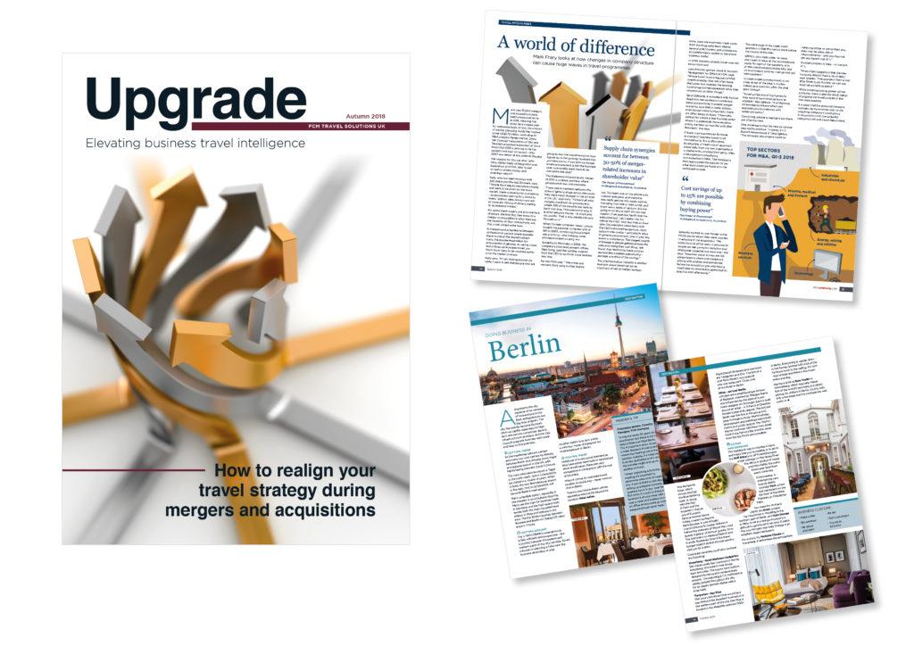 Upgrade Magazine by FCM Travel Solutions magazine editorial design