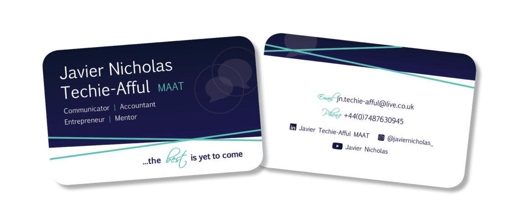 Javier Nicholas Business card design