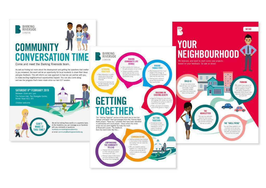 Barking Riverside community posters and illustration design